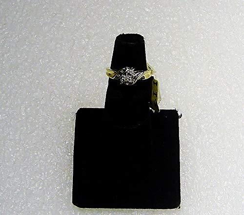 - 10 K Yellow Gold Ring W/ 9 Round Cut Diamonds Size 5 .10 tcw Inset w/Gold SD-416