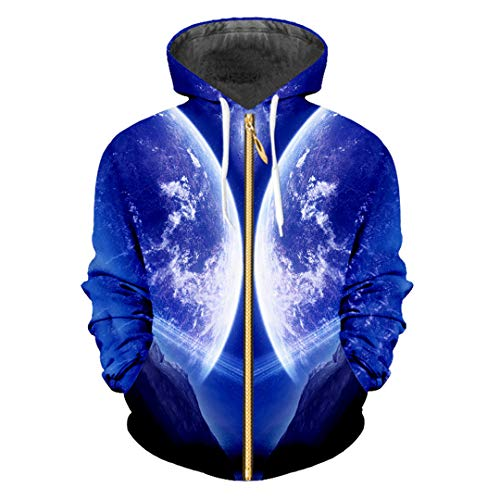 zippern 3D Galaxy Print Space Hoodies Casual Unisex Winter Fall Zip-Up Jacket Outfits Cardigan Galaxy Space M]()