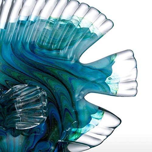 Estatuas Decorativas de vidrio azul peces tropicales decoración del hogar arte 5
