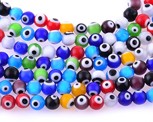 Glass Evil Eye Necklace (8mm 200 Pcs Evil Eye Glass Beads Assorted Colors of Jewelry Findings for Bracelet ,Necklace or Others)