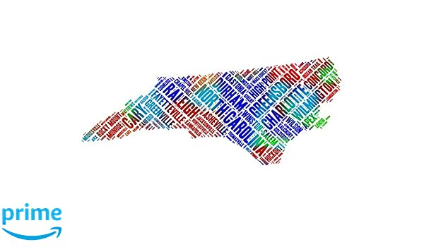 Amazon.com: North Carolina State Map Word Art, Colorful NC USA ...