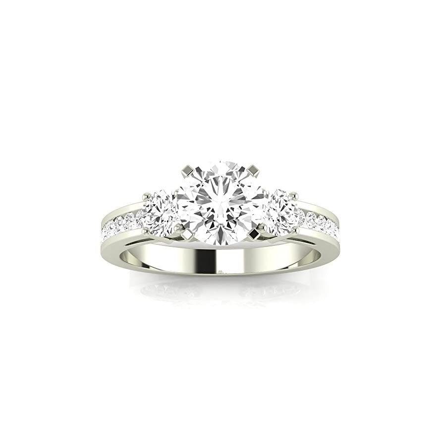 1.3 Carat t.w. Round Channel Set 3 Three Stone Diamond Engagement Ring J/VVS2 Clarity Center Stones.
