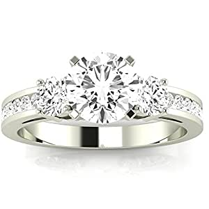2.1 Carat t.w. 14K White Gold Round Channel Set 3 Three Stone Diamond Engagement Ring K I1 Clarity Center Stones.