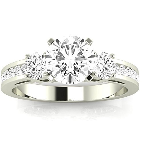 1.1 Cttw 14K White Gold Round Cut Channel Set 3 Three Stone Diamond Engagement Ring with a 0.5 Carat J K Color I1 Clarity Center