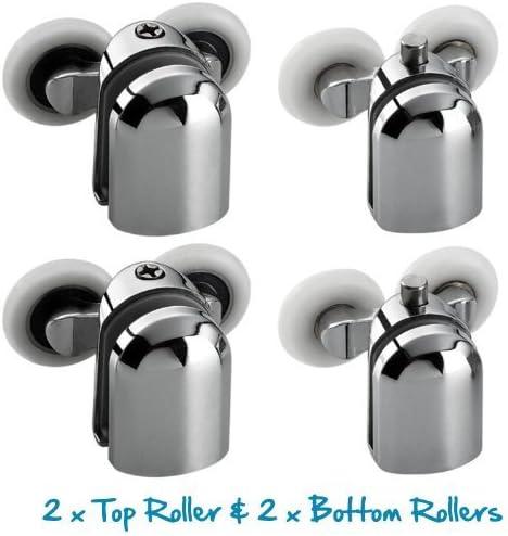 Juego de 4 ruedas para mampara de ducha (cromadas, para cristales ...
