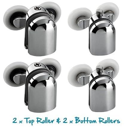 Juego de 4 ruedas para mampara de ducha (cromadas, para cristales de 4-