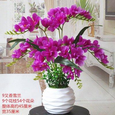 (LighSCH Artificial Flowers Fake Bouquet Phalaenopsis Orchid Purple Threaded Ceramic Flower Vase)