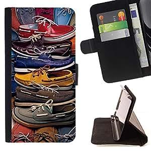 For Samsung Galaxy Note 4 IV Case , Moda Pastel Color Design Shop- la tarjeta de Crédito Slots PU Funda de cuero Monedero caso cubierta de piel