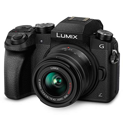 PANASONIC LUMIX G7 4K Digital Camera, with LUMIX G VARIO 14-42mm MEGA O.I.S. Lens, 16 Megapixel Mirrorless Camera, 3-Inch LCD, DMC-G7KK (Black) (Cannon 16 Mp Camera)