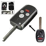 honda accord 4 button flip key - ZHUOTOP Replacement 4 Button Folding Flip Key Shell Remote Case Fob For Honda Accord Civic CRV 3+1