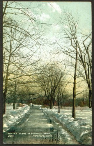 Winter walkway Bushnell Park Hartford CT postcard 1908