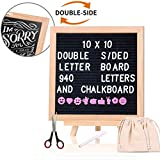 Changeable Felt Letter Board with Chalkboard 10x10 Inch, Aufisi Double Sided Message Board with 940 Letters +Stand +Canvas Bag +More, Decorative Black Word Board for Classroom, Home, Office