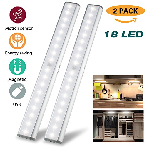 (Under Cabinet Lights Closet Lights Motion Sensor 18 LEDs USB Rechargeable Wireless Under Cabinet Lighting,Magnetic Stick On Anywhere LED Night Lights for Closet/Drawer/Cupboard,White Light,2 Pack)