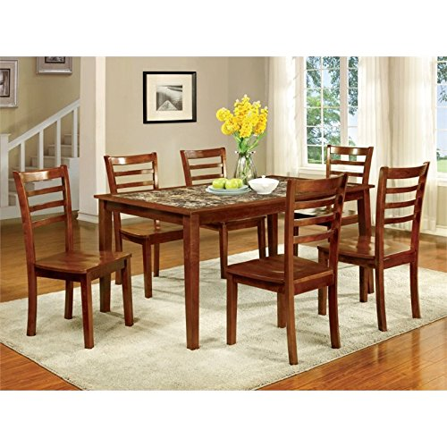 Furniture of America Venice 7-Piece Faux Marble Top Dining Set, Antique Oak (Venice Piece 7)