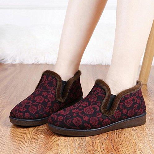 AJUNR-Zapatos De Mujer De Moda Invierno En El Antiguo Beijing Zapatos De Tela Gruesa Felpa Caliente Madre De Las Mujeres De Edad De Algodón Suave Antideslizante Shoes Zapatos De Mujer red