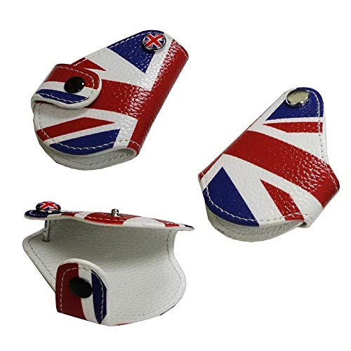 iJDMTOY (1 Red Blue Union Jack UK Flag Style Real Leather Key Fob Cover Holder for 2008-up Mini Cooper R55 R56 R57 R58 R59 R60 R61 F55 F56
