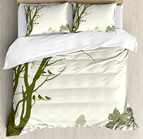 Ambesonne Forest Duvet Cover Set King Size, Nature Theme The Panorama of a Forest Pattern Birds on Tree Branches Print, Decorative 3 Piece Bedding Set with 2 Pillow Shams, Olive Green Cream