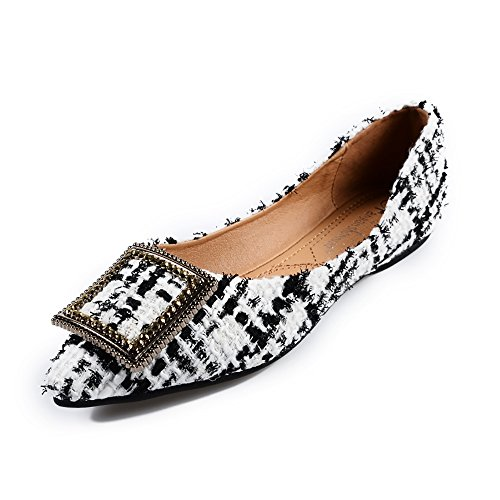 (Meeshine Womens Classic Pointy Toe Ballet Flats Slip On Plaid Dress Flat Shoes White US 9)