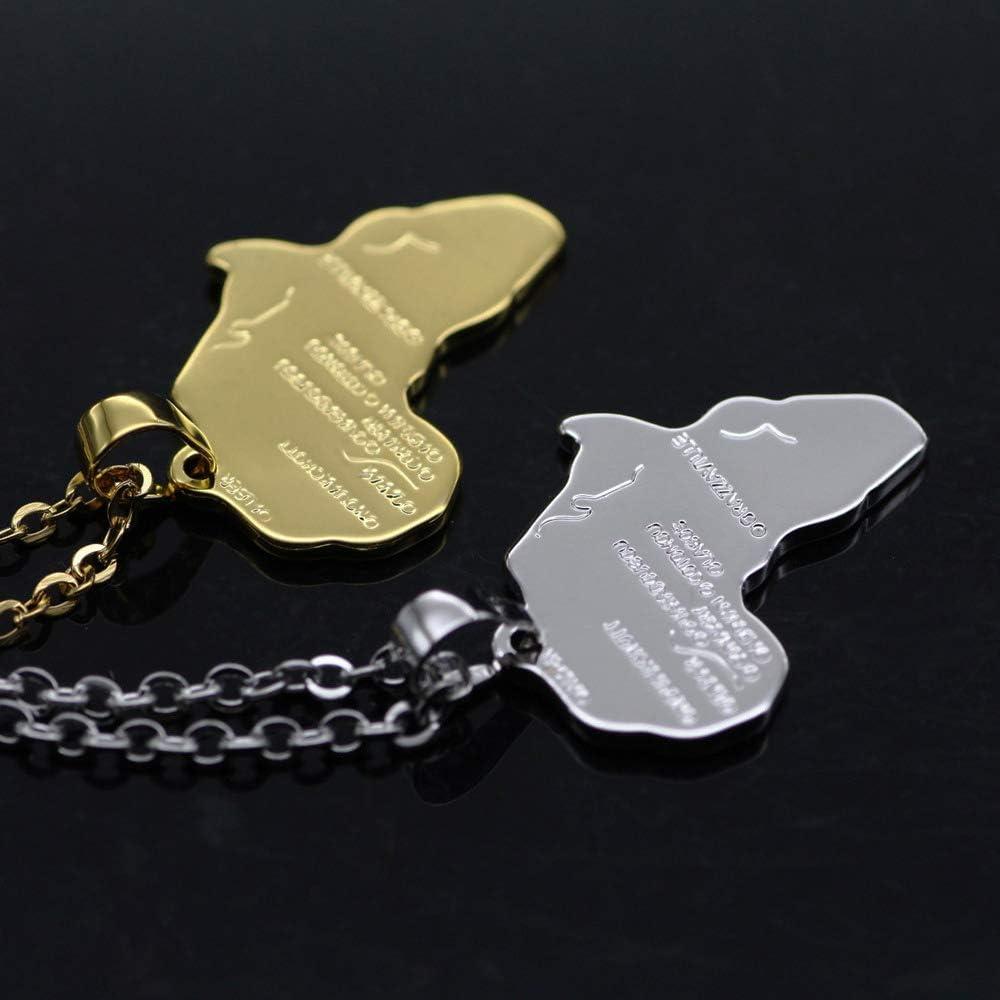 Meetlight Lot de 2 Colliers avec Pendentif Carte de lAfrique Grav/és avec Cha/îne Dor/ée Argent/ée 56 cm Unisexe Femme Homme