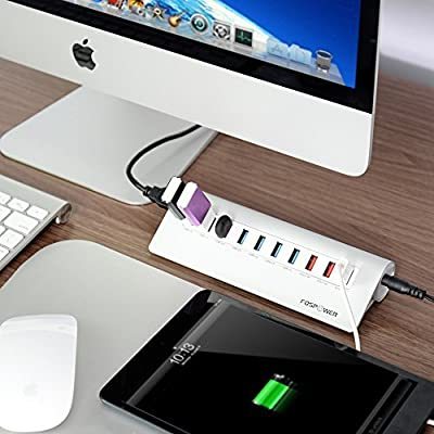 USB 3.0 Hub, FosPower [Plug and Play] 10-Port USB 3.0 SuperSpeed Aluminum Hub - 7 Port USB 3.0 + 3 Port USB 6.9A + Power Adapter for Mac Or Desktop, MacBook Pro, Mac Mini, Microsoft Surface, Mini Hub
