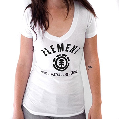 Element - Lock Up White Juniors V-Neck T-Shirt - Large by Element