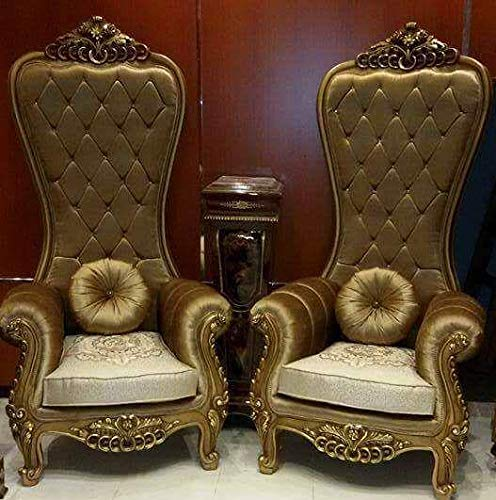 Harsh Jeen Handicraft Luxury Royal King Throne Chair Gold Chair For Bride And Groom Set Of 2 Amazon In Home Kitchen