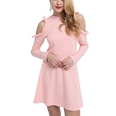c0eea987bfbe Chic-Dona Pink Cold Shoulder Mini Dress Women Frill Female Ruffle Cute Slim  Summer Dress at Amazon Women's Clothing store: