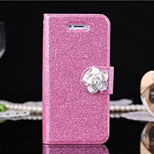 Camellia Crystal Slim Folio Case Flip Magnet Leather Wallet Case For iPhone 5 5S (Hotpink)