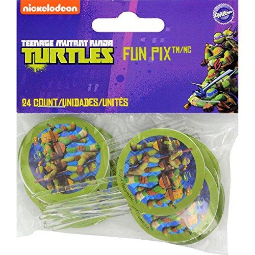 Wilton Teenage Mutant Ninja Turtles Licensed Fun Pix Cupcake Toppers, 24 (Ninja Turtle Cupcake Toppers)