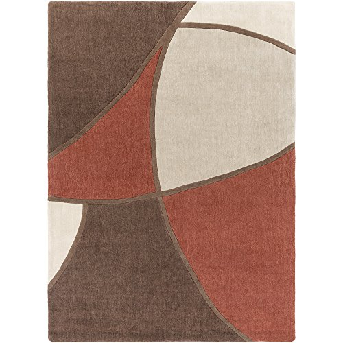 Surya Cosmopolitan COS-8887 Contemporary Hand Tufted 100% Polyester Coffee Bean 8' x 11' Abstract Area Rug (Wool Sienna Rug Burnt)