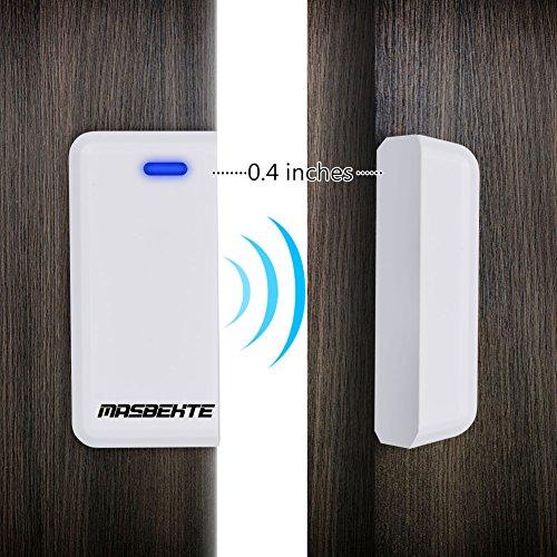 [해외]MasBekTe 무선 도어 개방형 차임 도어 윈도우 보안 알람 작동 범위 - 600FT 50 차임 튠 LED 표시기, 1 마그네틱 도어 차임 센서 & a/MasBekTe Wireless Door Open Chime Door Window Security Alarm-Operating Range - 600FT   50 Chime Tunes  ...