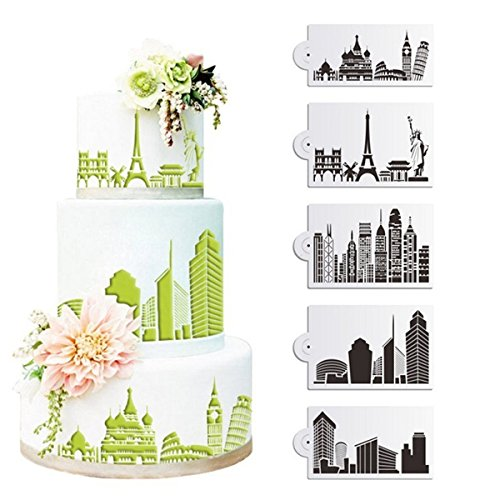 Bakeware & Accessories - 5pcs/Set Plastic Civic Architecture Stencils Fondant Cake Mold Cookie Baking Mould Decorating Tool - Cake Stencils Cakes Decorating - Designer For Cookies Days Until Christmas Yard Sign