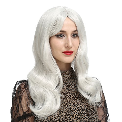 Bobby Costumes (DAOTS 28 Inches Silver White Curly Wig Long Wavy Wigs for Women Cosplay Costume, Free Wig Cap and Bobby Pins)