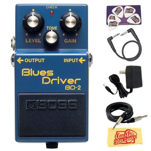 Boss BD-2 Blues Driver Guitar Effects Pedal Bundle with 9V Power Adapter, (Driver Pedal)