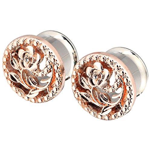 PHD LTD Stainless Steel Gold Diamond Rose Double Flared Flesh Ear Tunnels Plugs Stretcher Expander Kit Gauge 0g by PHD LTD (Image #2)