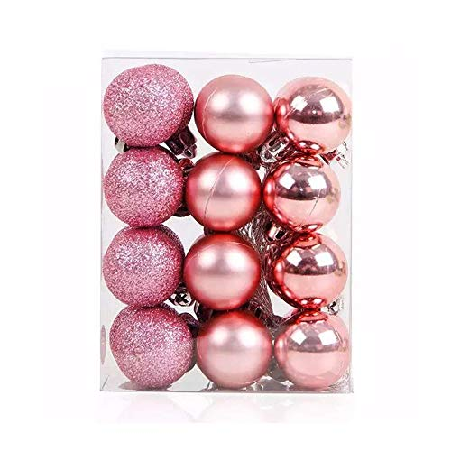 TangTanger Christmas Ball Assorted Pendant Shatterproof Ball Ornament Set Seasonal Holiday Wedding Party Decorations(24 pcs, 3 cm) (Pink)