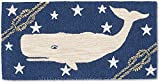 Handmade 100% Wool Nantucket Sperm Whale Folk Art Blue Shore Nautical Beach House Coastal Hand-Hooked Hallway Rug.2' x 4'.