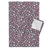Robot Gears Mechanical Steampunk Abstract Geometric Whimsical Tea Towels Robotika Gears (Pink) by Robyriker Set of 2 Linen Cotton Tea Towels