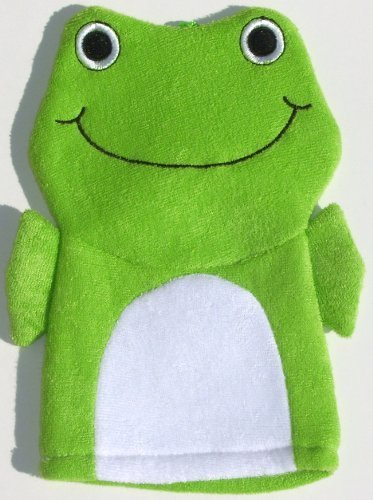 Terry Cloth Bath Puppet / Wash Cloth / Bathmitt / Bath Mitt / Green (Frog)