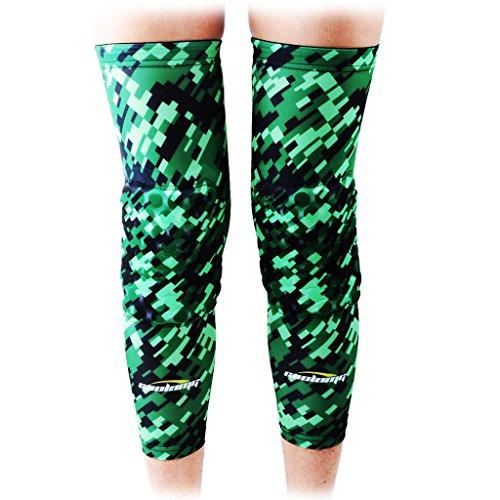 (COOLOMG Pair Basketball Knee Pads For Kids Youth Adult Long Leg Knee Sleeves Protector Gear EVA Digital Camo Green Black X-Large)