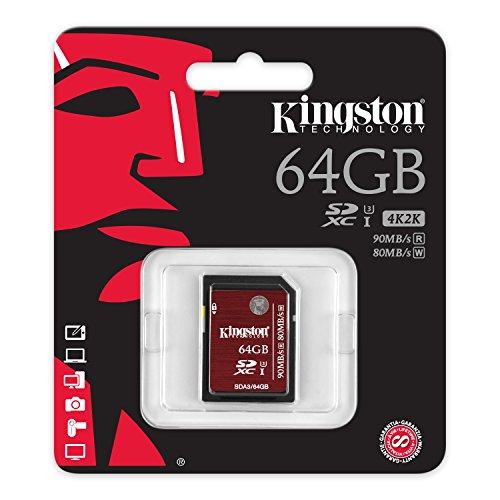 Kingston SDA3/64GB - Tarjeta de Memoria SecureDigital de 64 GB, Negro