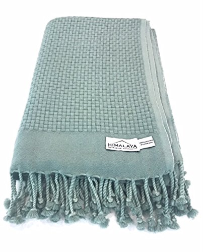 Himalaya Trading Company 100% Cashmere Basketweave Throw in Beach Glass Green