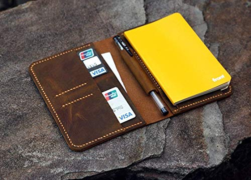 Vintage A6 notebook field notes leather Portfolio cover/distressed leather travel journal cover with card pen slot -NB005S