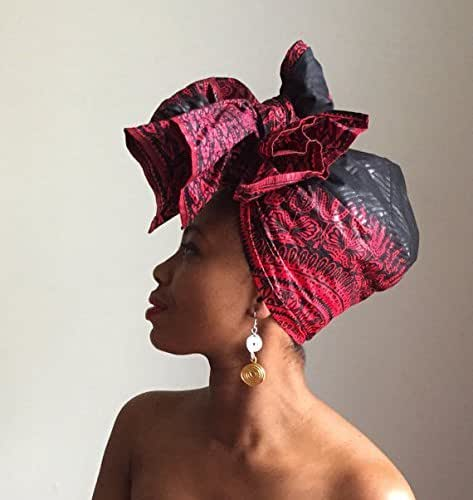 Black and red Dashiki headwrap - Headwrap - Dashiki headwrap - African print head wrap - African headwrap - Turban - Dreads turban - Dreads wraps - Alopecia headwrap - Headscarf