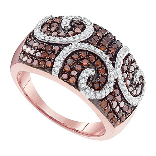 Roy Rose Jewelry 10K Rose Gold Ladies Red Colored Diamond Swirl Cocktail Ring 7/8 Carat tw ~ Size 7 ()