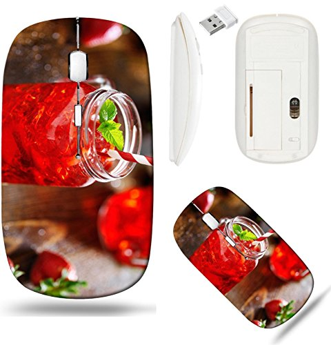 Liili Wireless Mouse White Base Travel 2.4G Wireless Mice with USB Receiver, Click with 1000 DPI for notebook, pc, laptop, computer, mac book strawberry cocktail in jar shot with selective focus 29359 ()