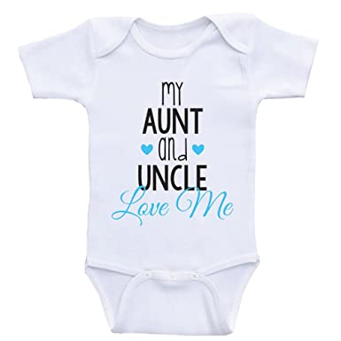 9517c2ae2 Amazon.com: Cute Baby One Piece My Aunt and Uncle Love Me Newborn Baby  Clothes: Clothing