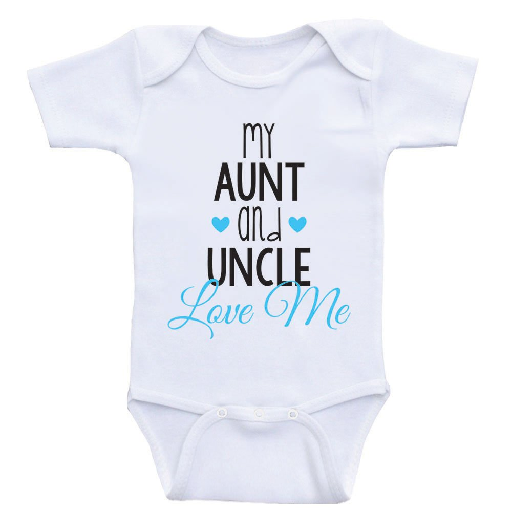 Cute Baby One Piece My Aunt and Uncle Love Me Newborn Baby Clothes (6mo-Short Sleeve, Baby Blue Text)