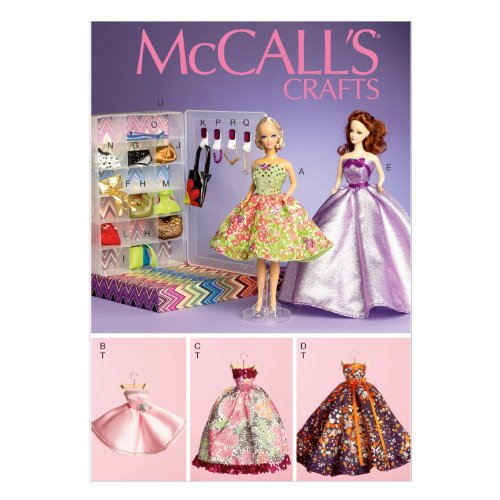 Barbie Doll Clothing Patterns - Butterick  Pattern Company M6903 Clothes and Accessories Sewing Template for 11-1/2-Inch Doll with Display Boxes and Hangers, One Size Only