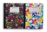 Trendy Patterned Wide Ruled 100 Sheets Composition Notebooks - (Pack of 2)